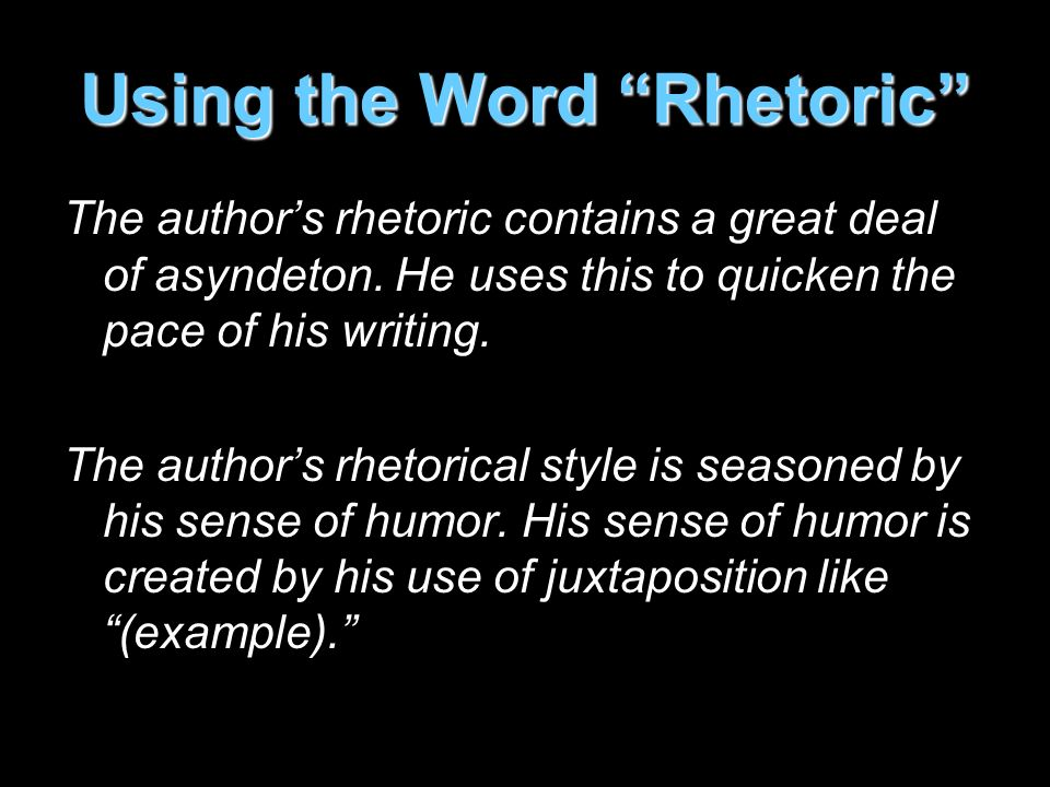 Using the Word Rhetoric