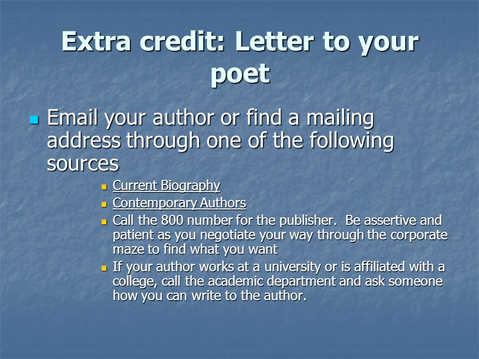 Extra credit: Letter to your poet