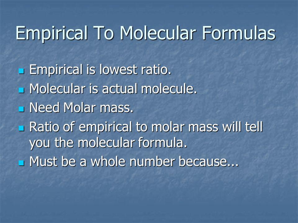 Empirical To Molecular Formulas
