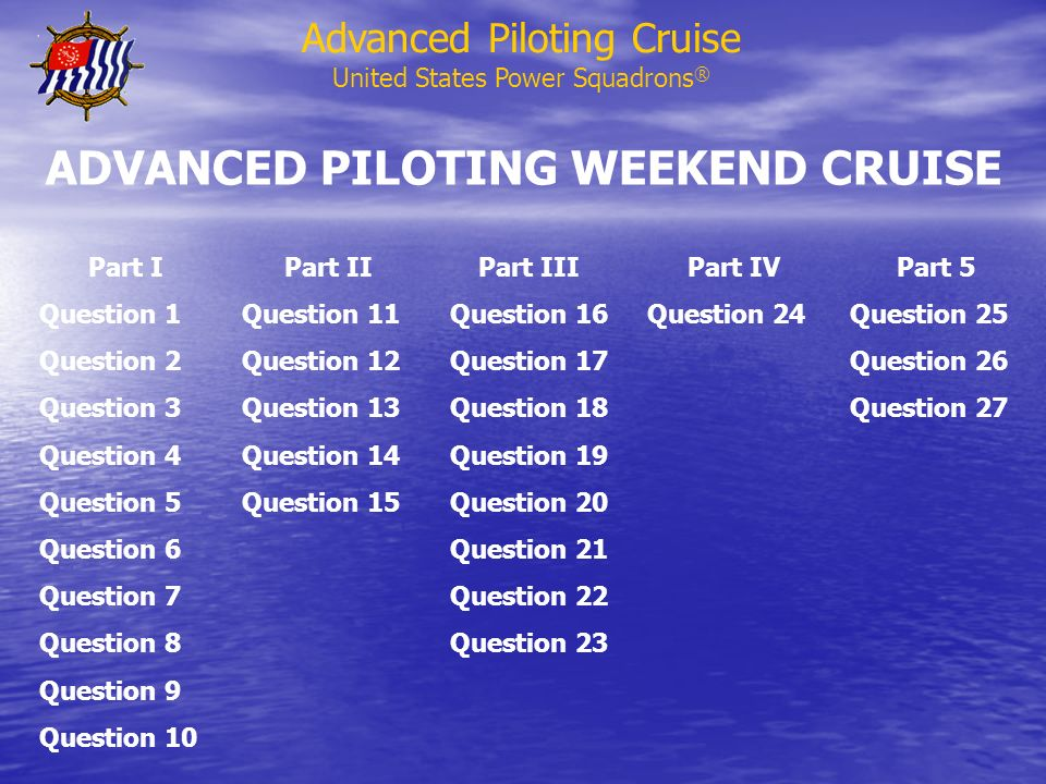 ADVANCED PILOTING WEEKEND CRUISE