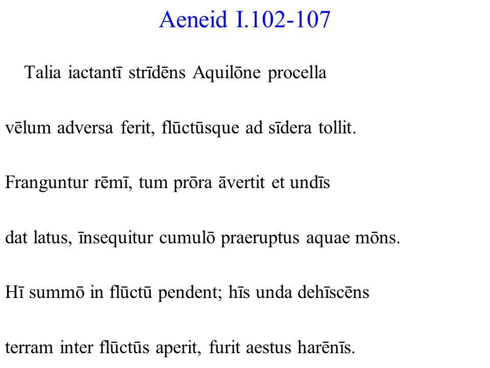 Aeneid I.102-107 Talia iactantī strīdēns Aquilōne procella