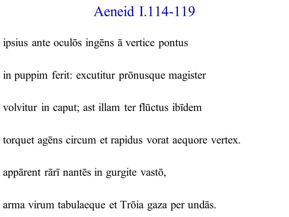 Aeneid I.114-119 ipsius ante oculōs ingēns ā vertice pontus