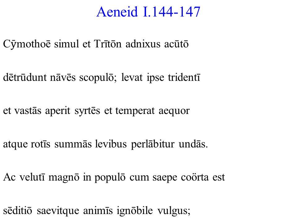 Aeneid I.144-147 Cȳmothoē simul et Trītōn adnixus acūtō