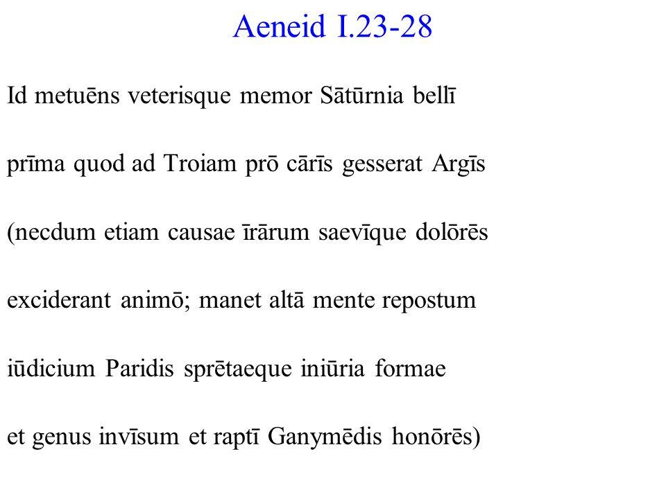 Aeneid I.23-28 Id metuēns veterisque memor Sātūrnia bellī