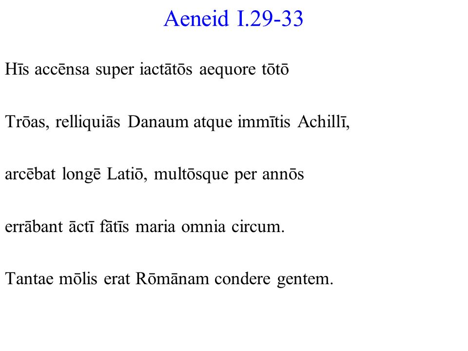 Aeneid I.29-33 Hīs accēnsa super iactātōs aequore tōtō