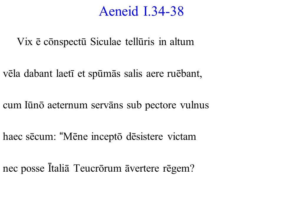 Aeneid I.34-38 Vix ē cōnspectū Siculae tellūris in altum