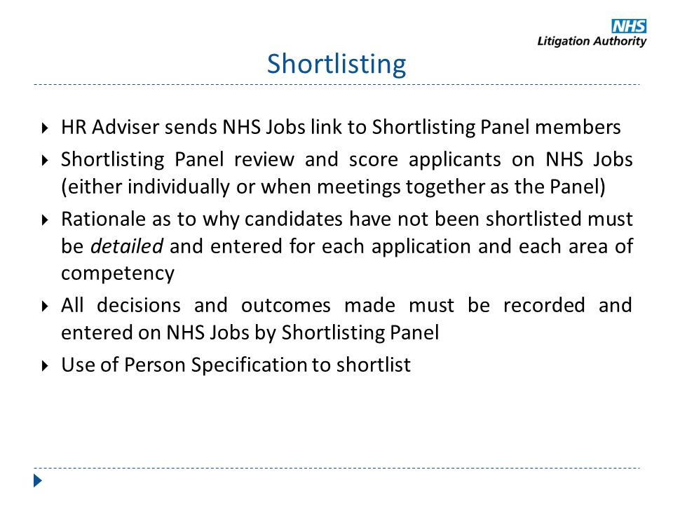 Shortlisting HR Adviser sends NHS Jobs link to Shortlisting Panel members.