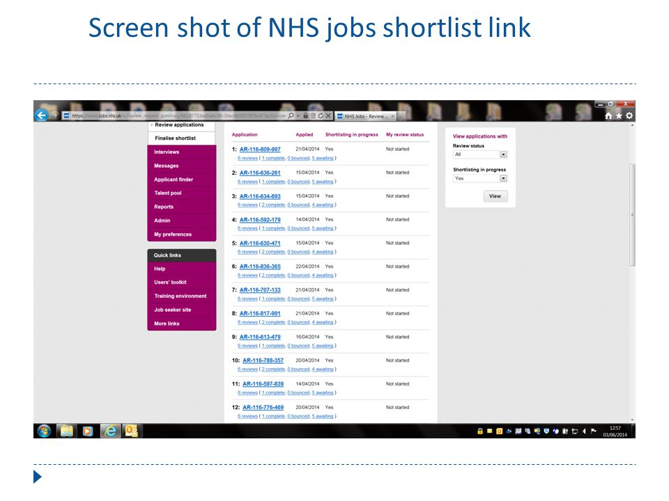 ScrScreen shot of NHS jobs shortlist link of NHS jobs