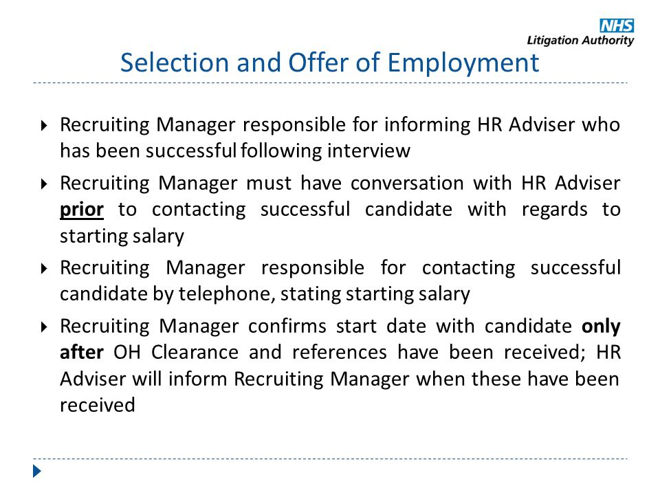 Selection and Offer of Employment