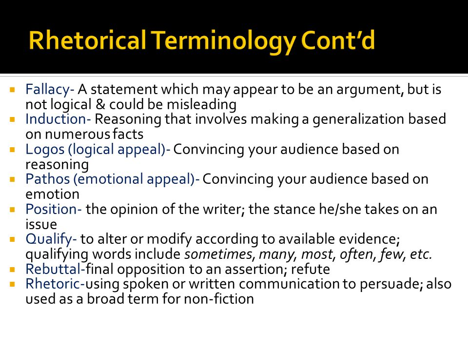 Rhetorical Terminology Cont'd