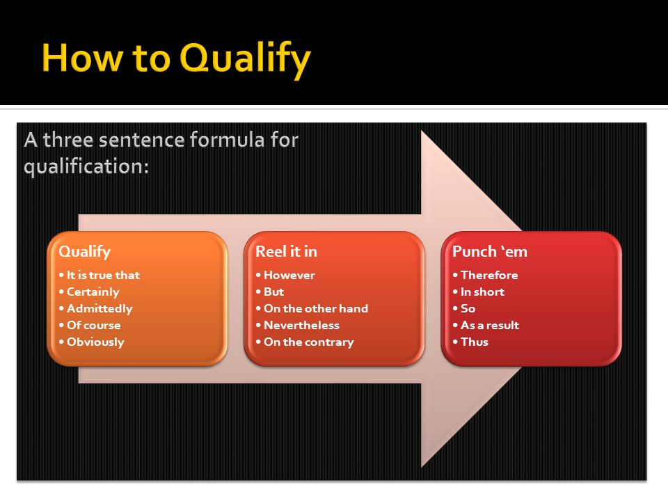How to Qualify A three sentence formula for qualification: Qualify