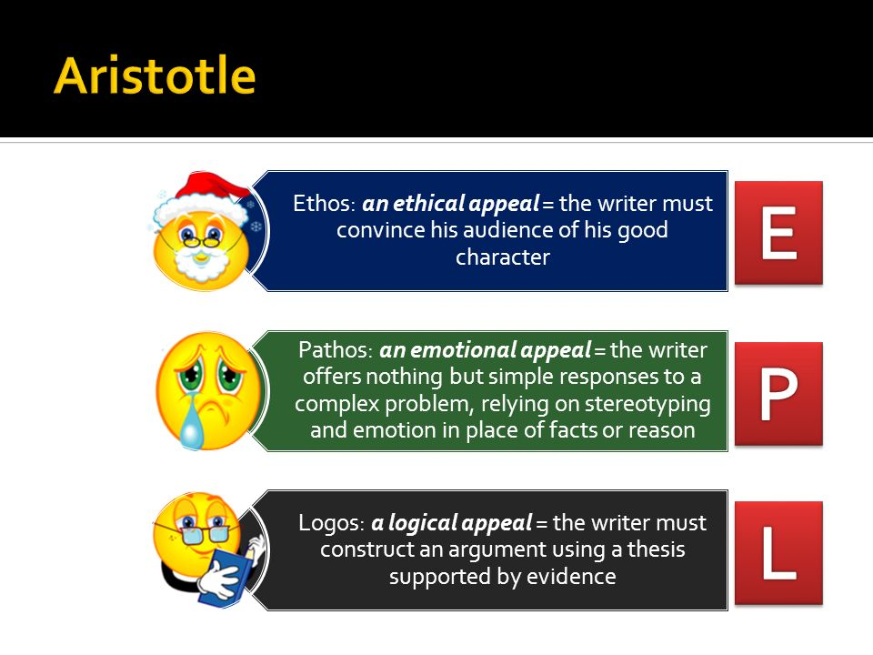 Aristotle Ethos: an ethical appeal = the writer must convince his audience of his good character.