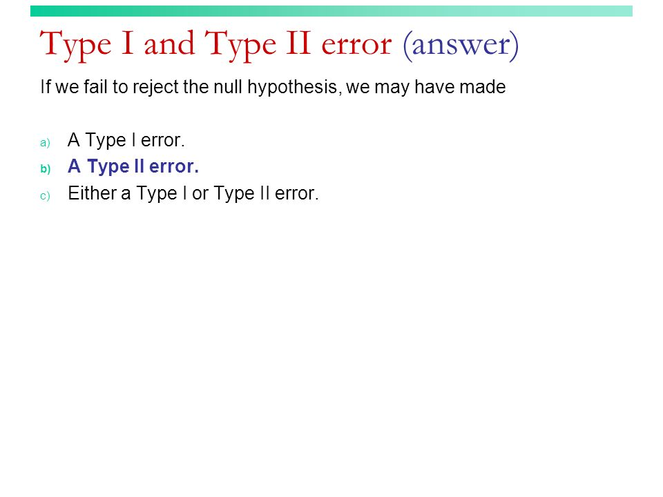 Type I and Type II error (answer)