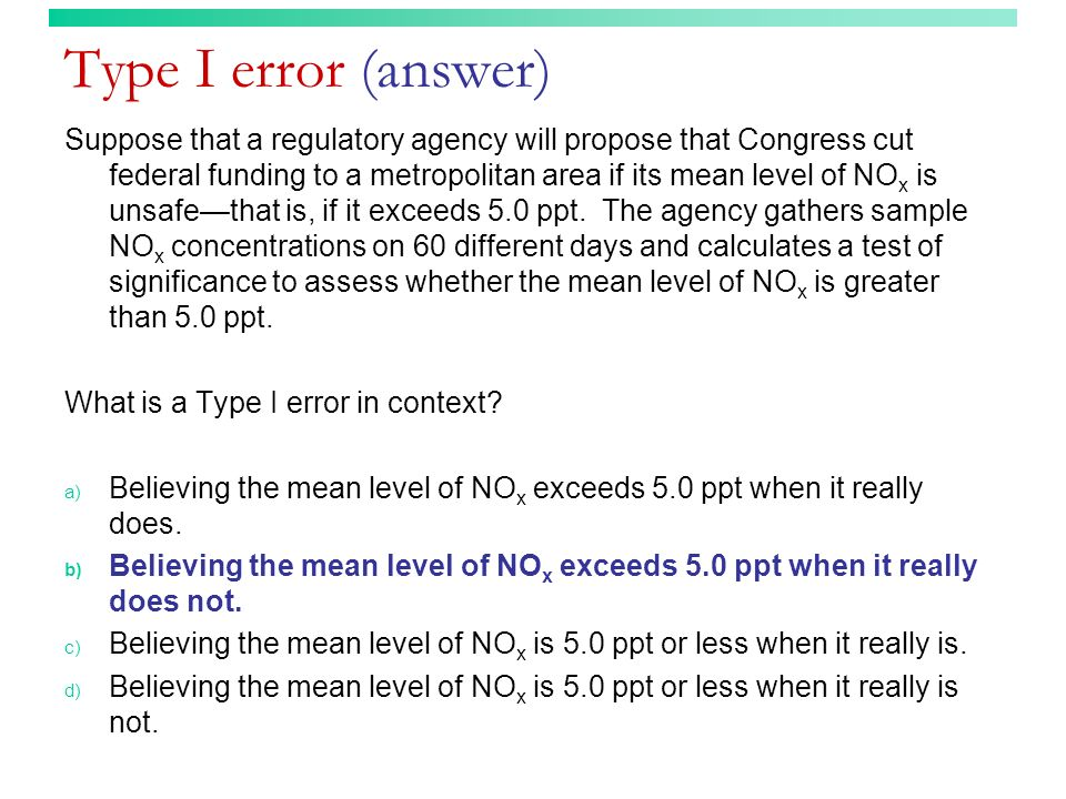 Type I error (answer)
