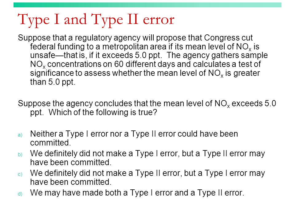Type I and Type II error