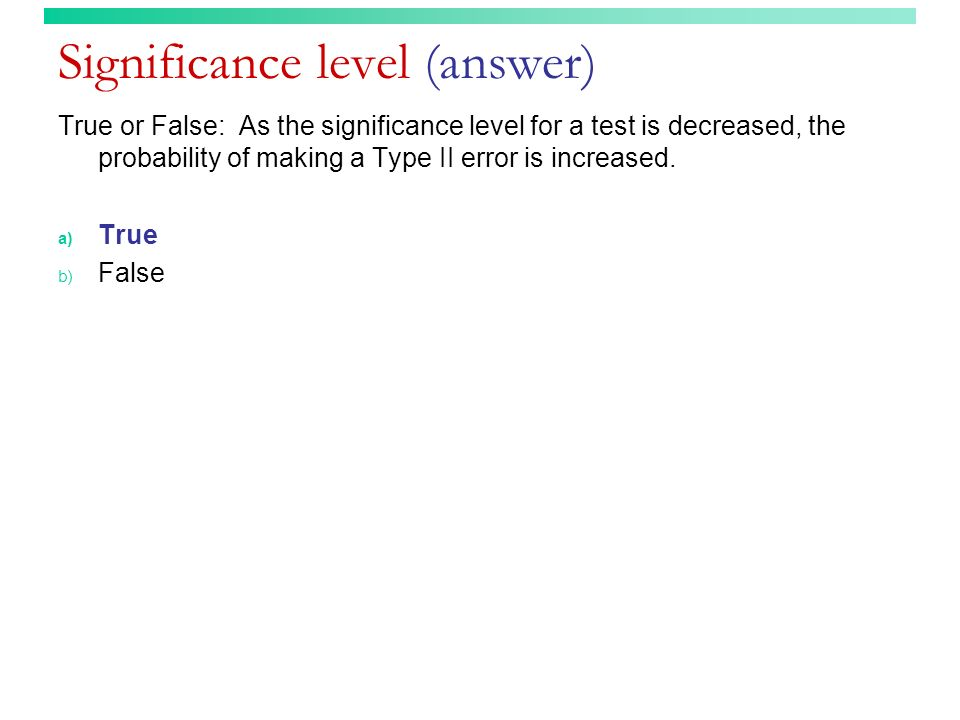 Significance level (answer)