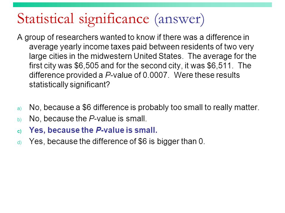 Statistical significance (answer)