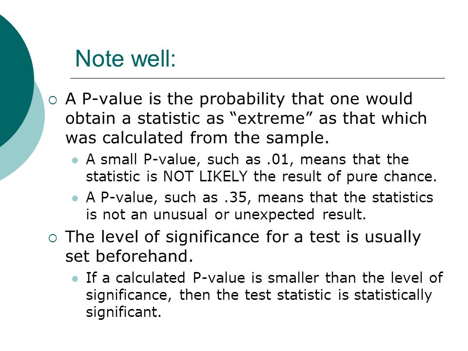 Note well: A P-value is the probability that one would obtain a statistic as extreme as that which was calculated from the sample.