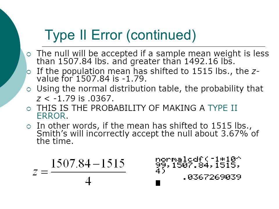 Type II Error (continued)