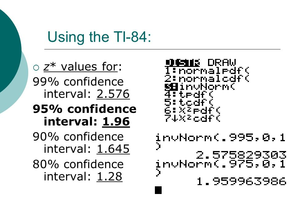 Using the TI-84: z* values for: 99% confidence interval: 2.576