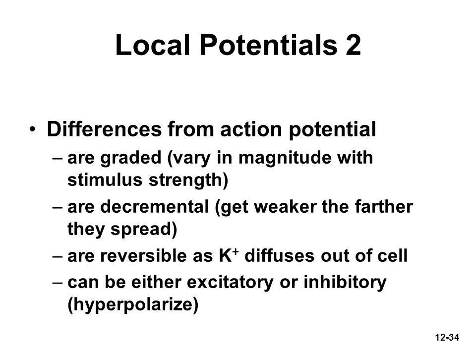 Local Potentials 2 Differences from action potential