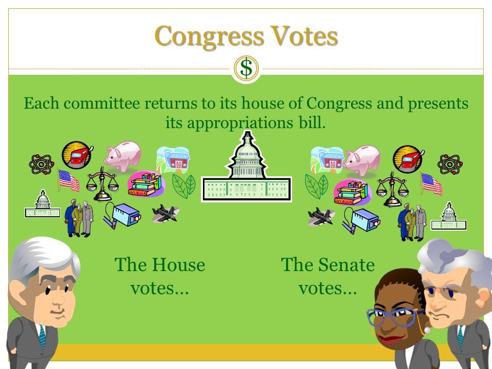 Congress Votes $ The House votes… The Senate votes…