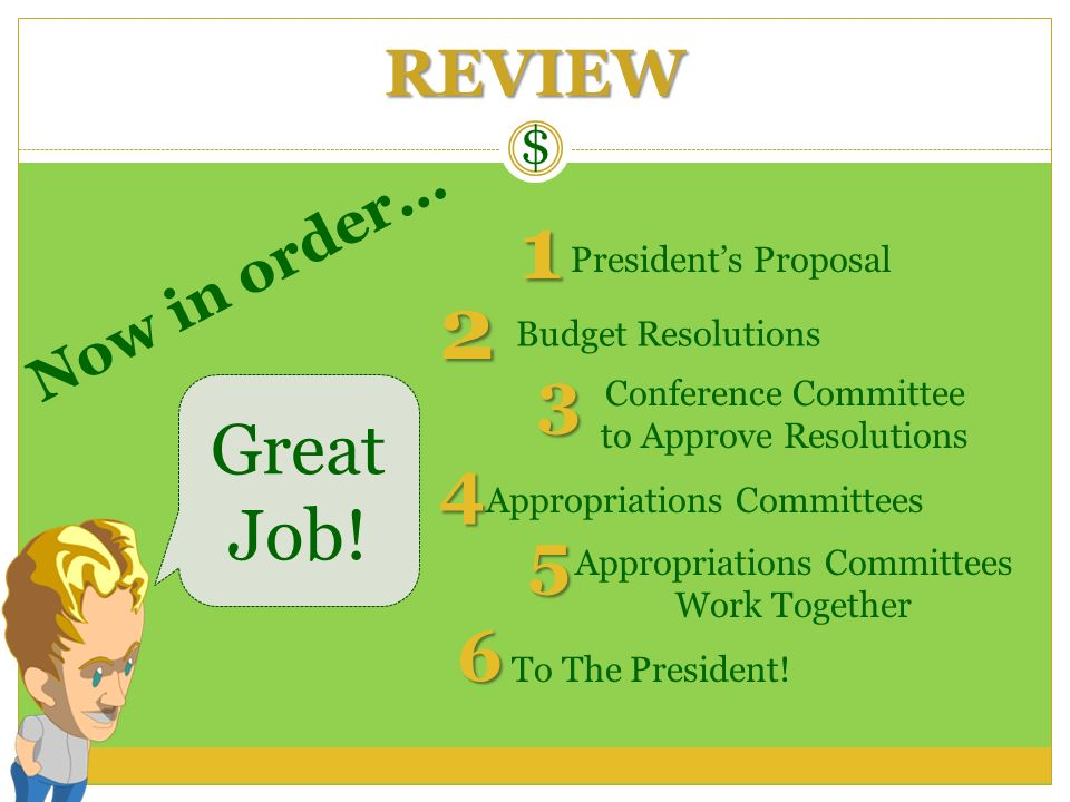 1 2 3 Great Job! 4 5 6 REVIEW Now in order… $ President's Proposal