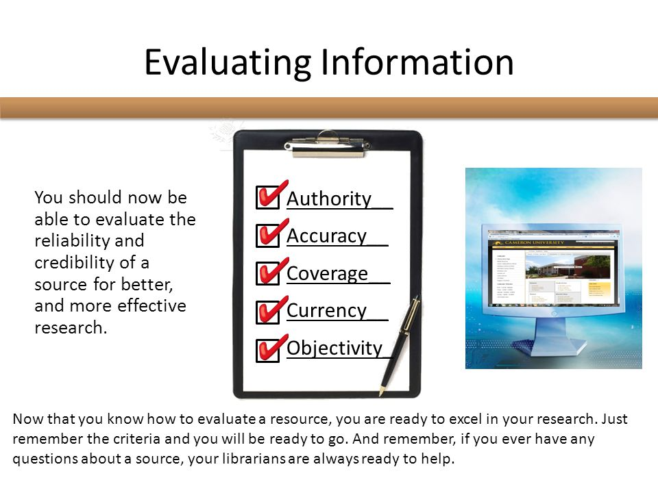 Evaluating Information
