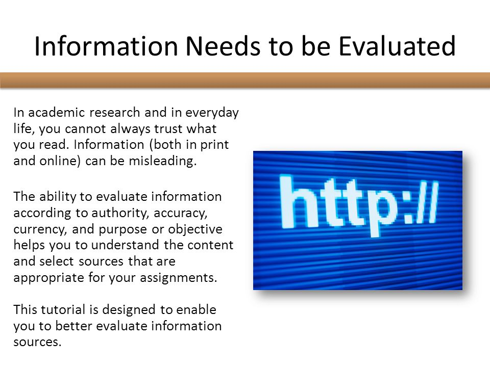 Information Needs to be Evaluated