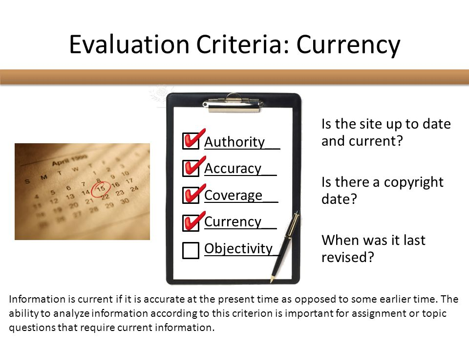 Evaluation Criteria: Currency