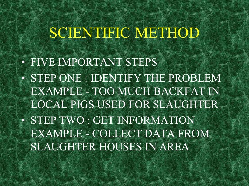 SCIENTIFIC METHOD FIVE IMPORTANT STEPS