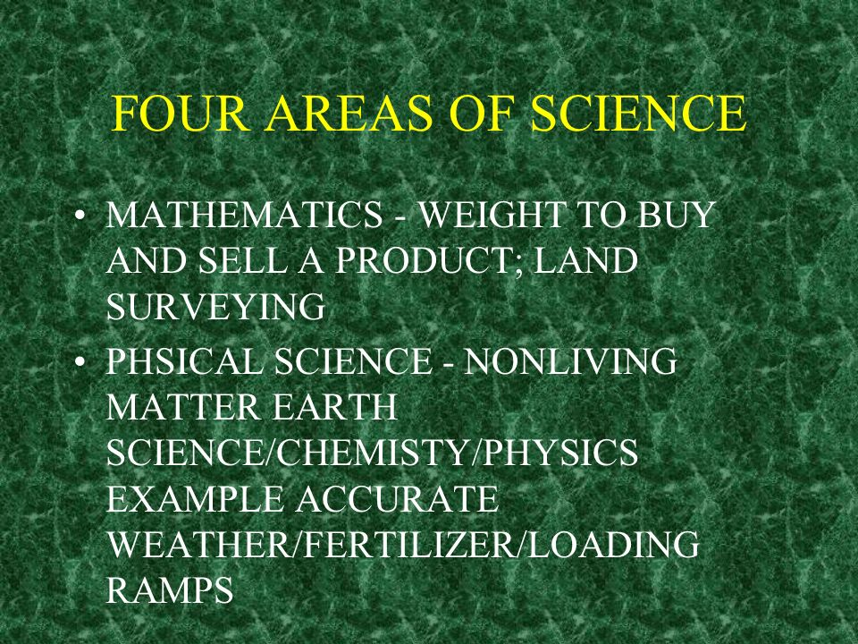 FOUR AREAS OF SCIENCE MATHEMATICS - WEIGHT TO BUY AND SELL A PRODUCT; LAND SURVEYING.
