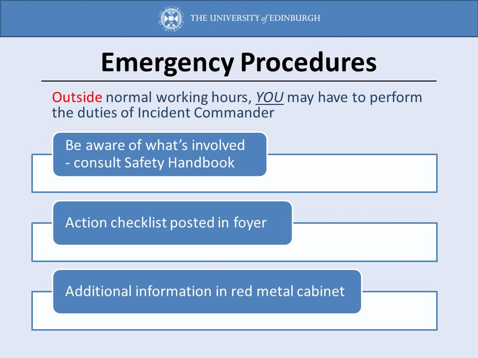 Emergency Procedures Outside normal working hours, YOU may have to perform the duties of Incident Commander.