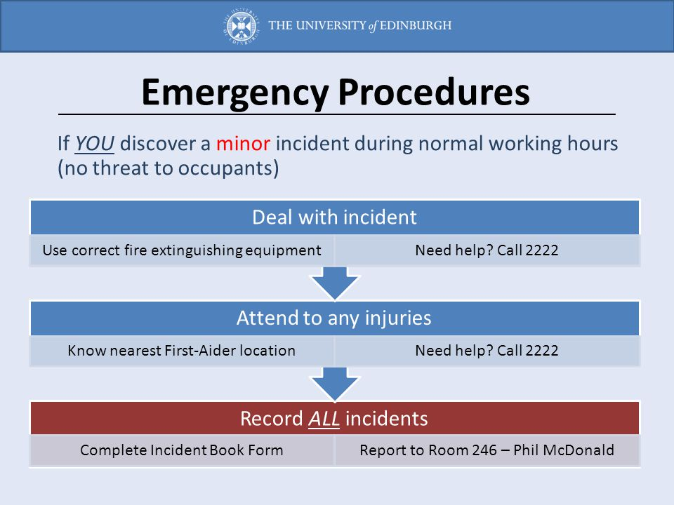 Emergency Procedures If YOU discover a minor incident during normal working hours (no threat to occupants)