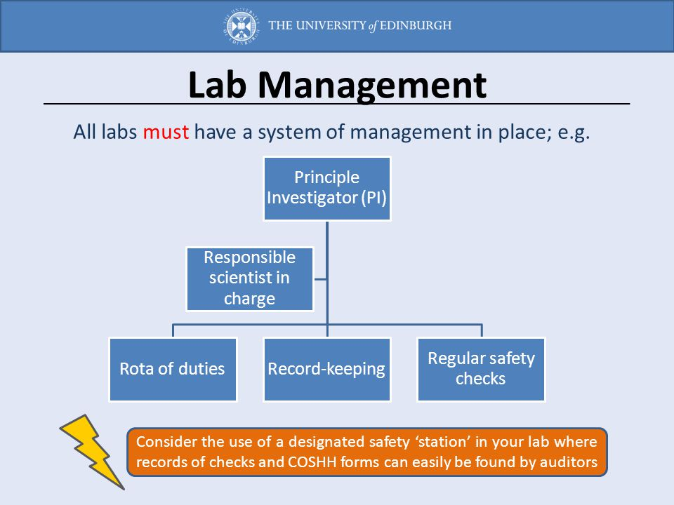 Lab Management All labs must have a system of management in place; e.g. Principle Investigator (PI)