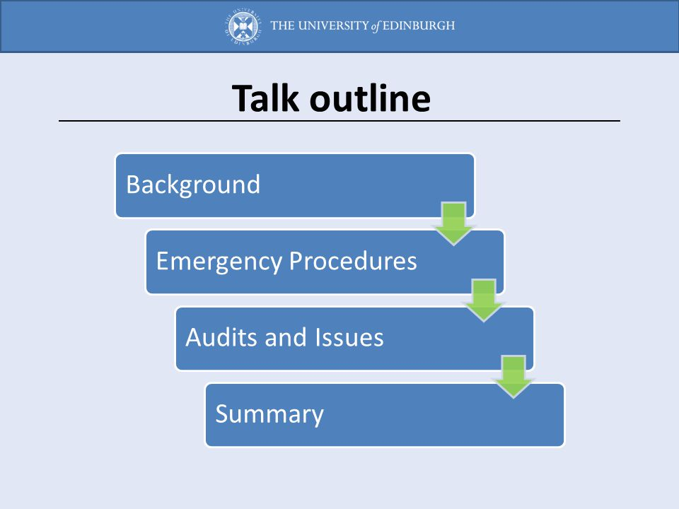 Talk outline Background Emergency Procedures Audits and Issues Summary