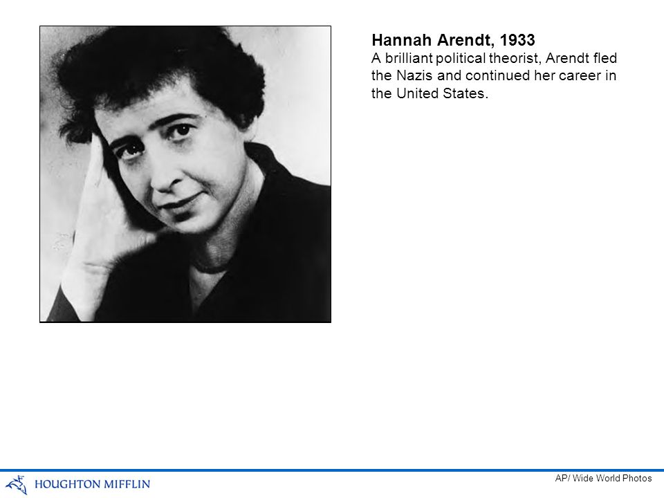 Hannah Arendt, 1933 A brilliant political theorist, Arendt fled the Nazis and continued her career in the United States.
