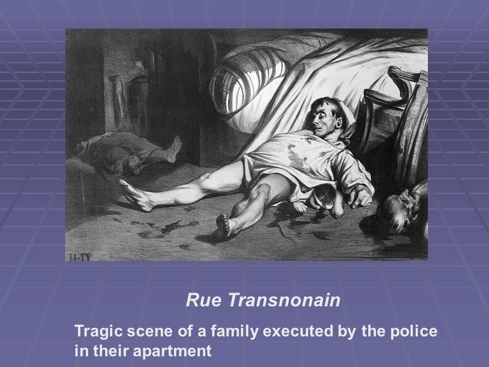 Rue Transnonain Tragic scene of a family executed by the police in their apartment