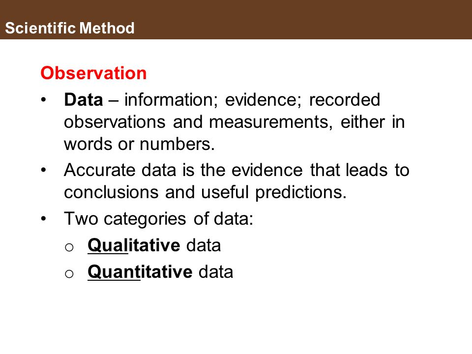 Two categories of data: Qualitative data Quantitative data
