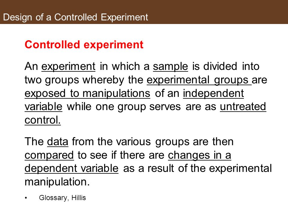 Design of a Controlled Experiment