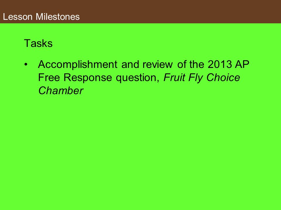 Lesson Milestones Tasks.