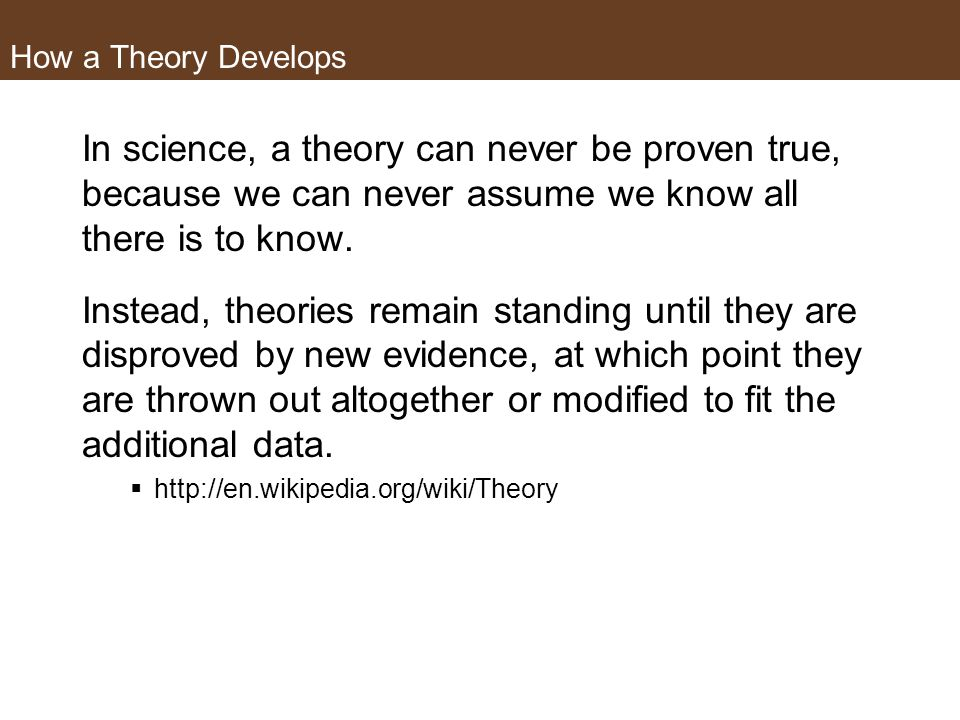 How a Theory DevelopsIn science, a theory can never be proven true, because we can never assume we know all there is to know.