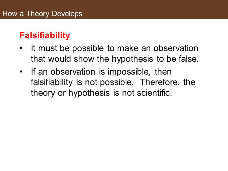 How a Theory Develops Falsifiability. It must be possible to make an observation that would show the hypothesis to be false.