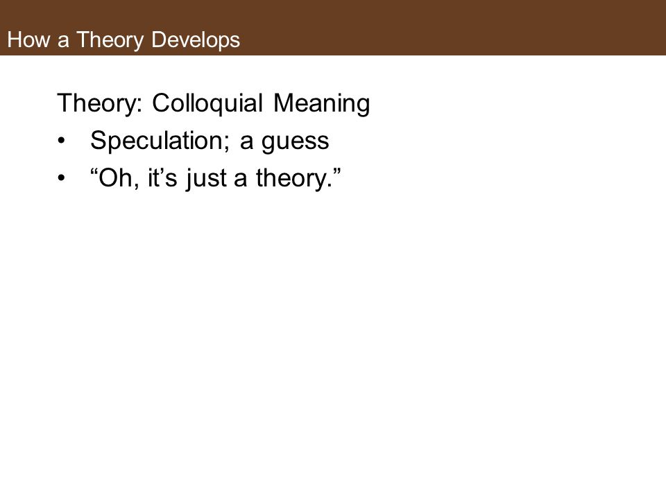 Theory: Colloquial Meaning Speculation; a guess