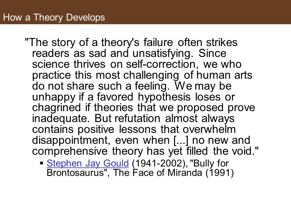 How a Theory Develops