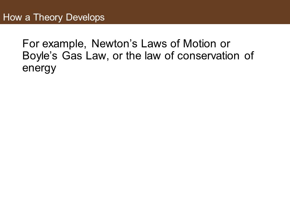 How a Theory Develops For example, Newton's Laws of Motion or Boyle's Gas Law, or the law of conservation of energy.