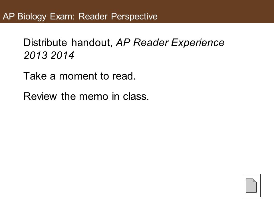 AP Biology Exam: Reader Perspective