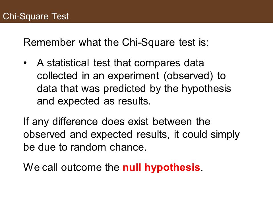 Remember what the Chi-Square test is: