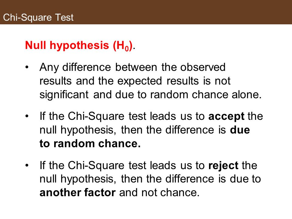 Chi-Square Test Null hypothesis (H0).
