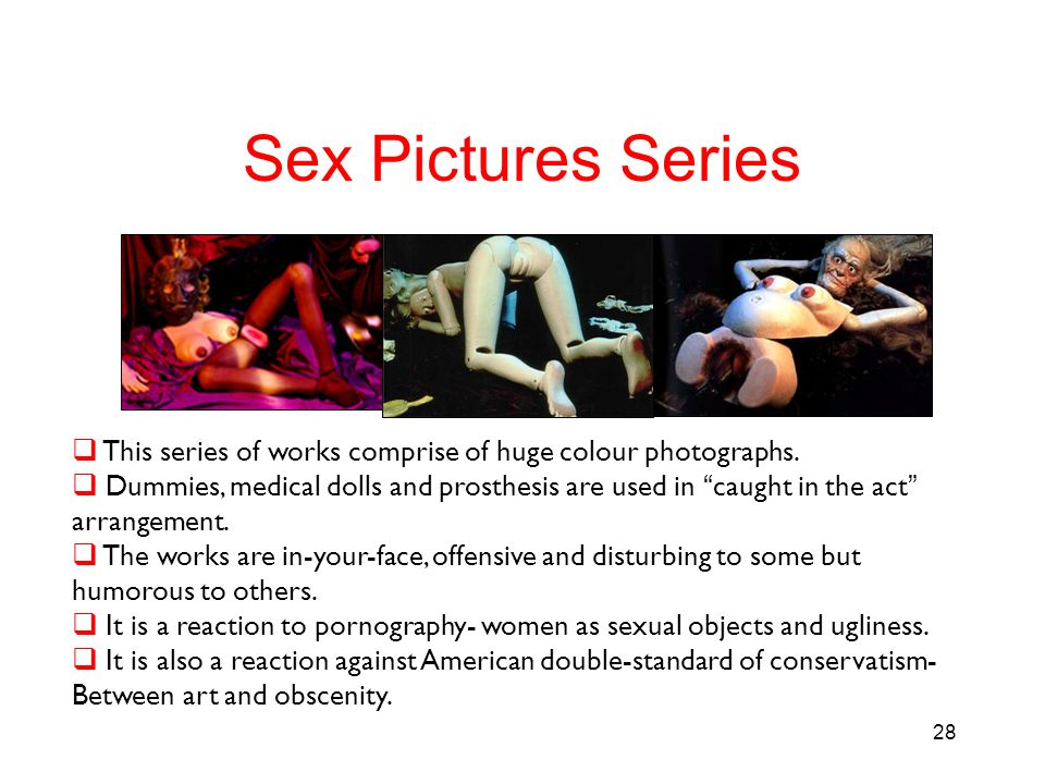 Sex Pictures Series This series of works comprise of huge colour photographs. Dummies, medical dolls and prosthesis are used in caught in the act